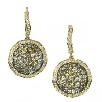 CHAMPAGNE AND WHITE DIAMOND EARRINGS