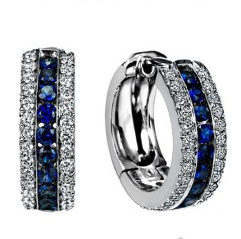 CHANNEL SET SAPPHIRE AND DIAMOND EARRINGS