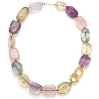 COLORFUL GEMSTONE AND 18K GOLD NECKLACE