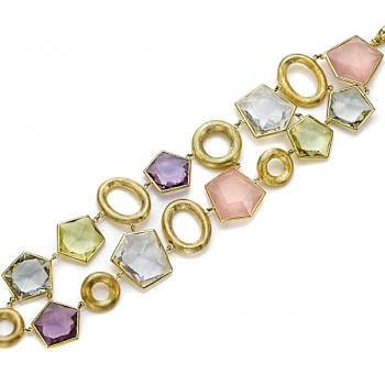 COLORFUL GEMSTONE AND GOLD BRACELET