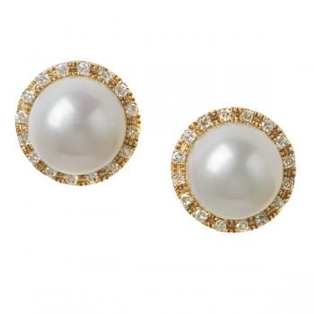 CULTURED PEARL AND DIAMOND ROSE GOLD EARRINGS