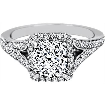 Cushion Diamond Halo Engagement Ring with Pave sides