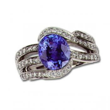 DIAMOND AND BLUE STONE RING