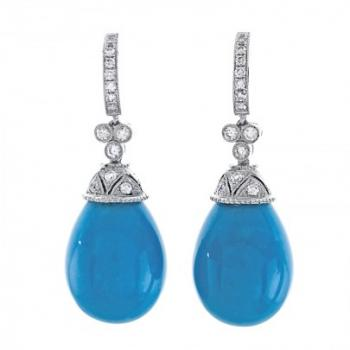 DIAMOND AND TURQUOISE DROP EARRINGS