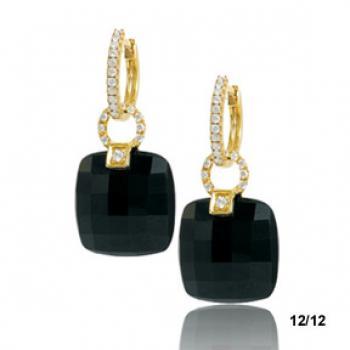 Diamond and Black Facet Cut Gemstone Earrings