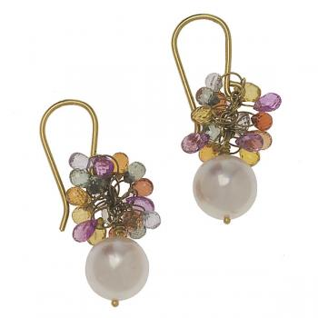 WHITE PEARL AND STONE EARRINGS