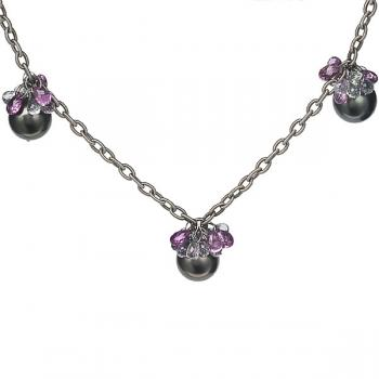 BLACK PEARL AND BRIOLETTES NECKLACE WITH FIVE STATIONS