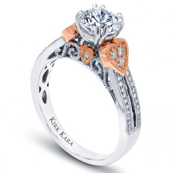 ENGAGEMENT RING WITH ROSE GOLD ACCENTS
