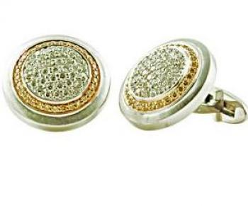 Elegant two-tone Diamond cufflinks set in 18K Gold