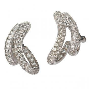 Elegantly sophisticated double curved Diamond hoop earrings in White Gold