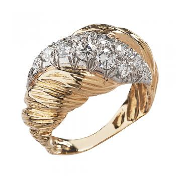 FABULOUS PLATINUM AND 18K GOLD DIAMOND RING