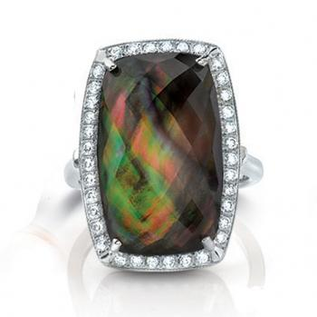FACETED MULTICOLORED STONE IN DIAMOND SETTING RING