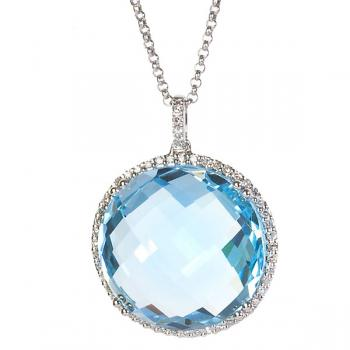 FACETED ROUND BLUE TOPAZ AND DIAMOND PENDANT NECKLACE