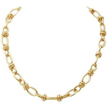 FINE EUROPEAN 18K YELLOW GOLD LINK NECKLACE