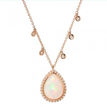 FINE OPAL AND DIAMOND NECKLACE