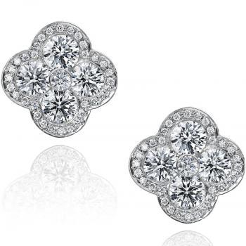 FLEUR 18K WHITE GOLD AND DIAMOND EARRINGS