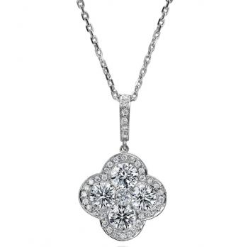 FLOWER SHAPED 18K WHITE GOLD AND DIAMOND PENDANT
