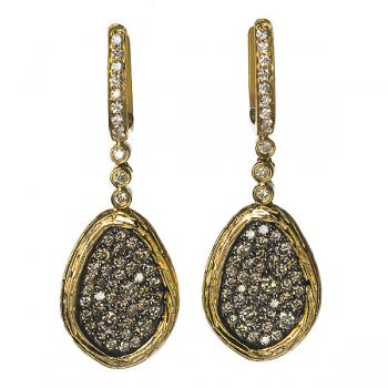 FREEFORM YELLOW GOLD AND CHAMPAGNE DIAMONDS EARRINGS