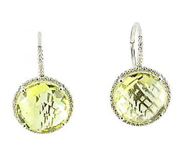 Delightful Yellow Quartz and Diamond earrings set in White Gold
