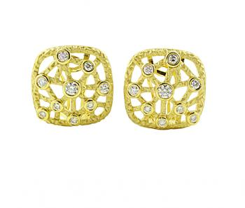 Stunning contemporary Diamond earrings set in 18K Yellow Gold