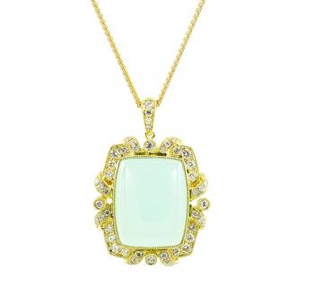 Charming Aqua Chalcedony and Diamond pendant set in 18K Yellow Gold