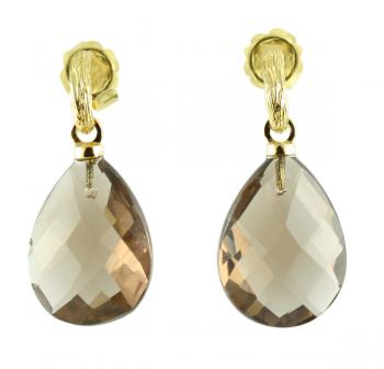 Stylish, cool Smoky Quartz drop earrings set with 18K Yellow Gold