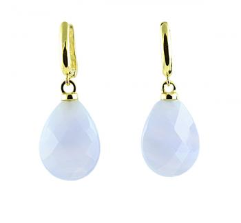 Charmingly lovely Chalcedony drop earrings set with 18K Yellow Gold