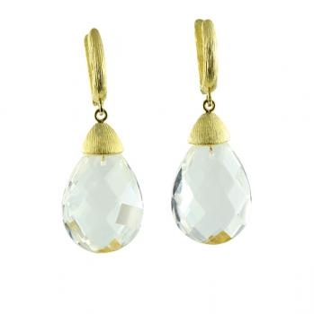 Delicious Rock Crystal drop earrings set with 18K Yellow Gold