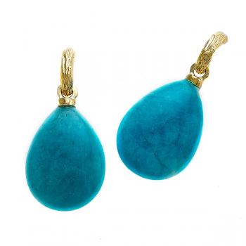 Luscious Amazonite drop earrings set with 18K Yellow Gold