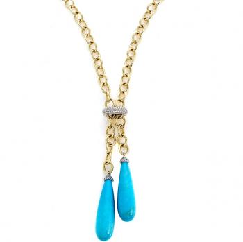 Beautiful, captivating Diamond and Turquoise pendant with an 18K White Gold setting and adjustable chain