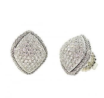Impressively distinctive Pave Diamond earrings set in 18K White Gold