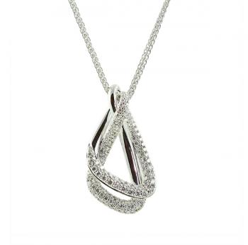 Shimmering, elegant Diamond pendant set in 18K White Gold with an adjustable chain