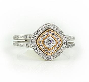 Delightful three tone 'bead set' Diamond ring