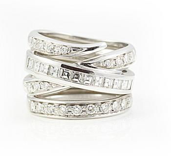 Stunningly bold Diamond fashion ring set-in White Gold