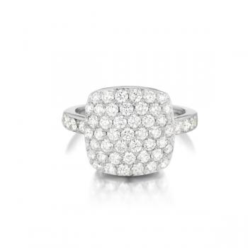 Exquisite Pave Diamond fashion ring set in White Gold