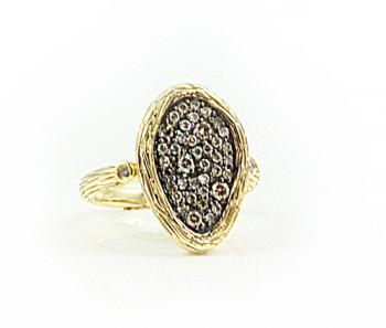 Captivating free-form Yellow Gold ring set with Champagne diamonds