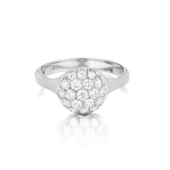 Lusciously striking Pave Diamond ring set in White Gold