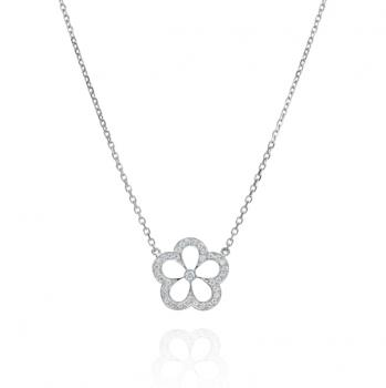 Flower shaped 18K white gold and diamond necklace
