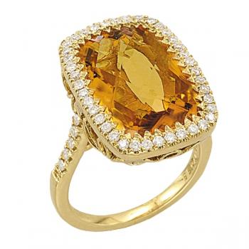 GOLD, CITRINE AND DIAMOND RING