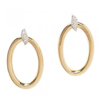 GOLD WITH DIAMOND ACCENT HOOP EARRINGS