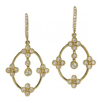 GRECIAN YELLOW GOLD AND DIAMOND EARRINGS