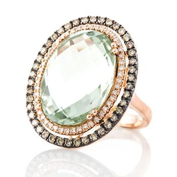 GREEN QUARTZ, DIAMOND AND ROSE GOLD RING