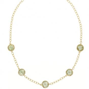 GREEN QUARTZ AND 18K GOLD NECKLACE