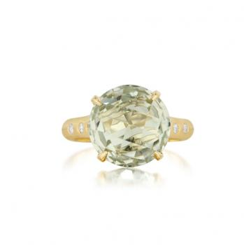 GREEN QUARTZ AND DIAMOND GOLD RING