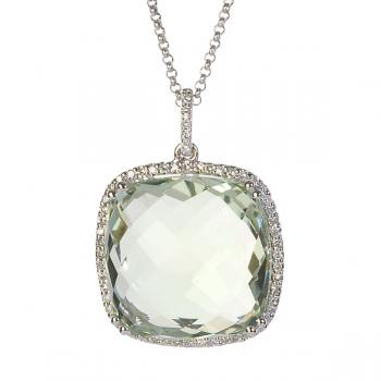 GREEN QUARTZ AND DIAMOND NECKLACE
