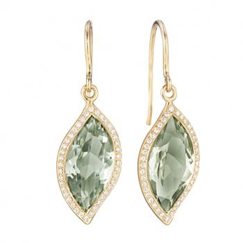 GREEN QUARTZ DIAMOND PAVE EARRINGS