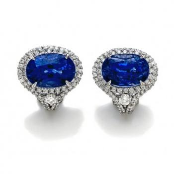 Gorgeous Oval Blue Sapphire and Diamond Earrings