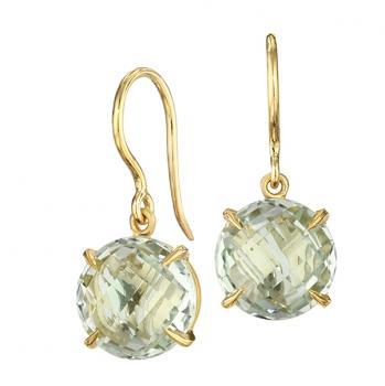 Green Quartz 18K Yellow Gold Earrings