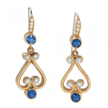 HANDMADE SAPPHIRE AND DIAMOND 18K GOLD EARRINGS