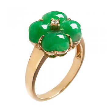 HAND CARVED JADEITE CLOVER RING